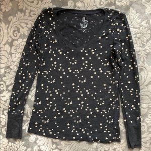 Delia's Thermal Charcoal Gray Gold Stars